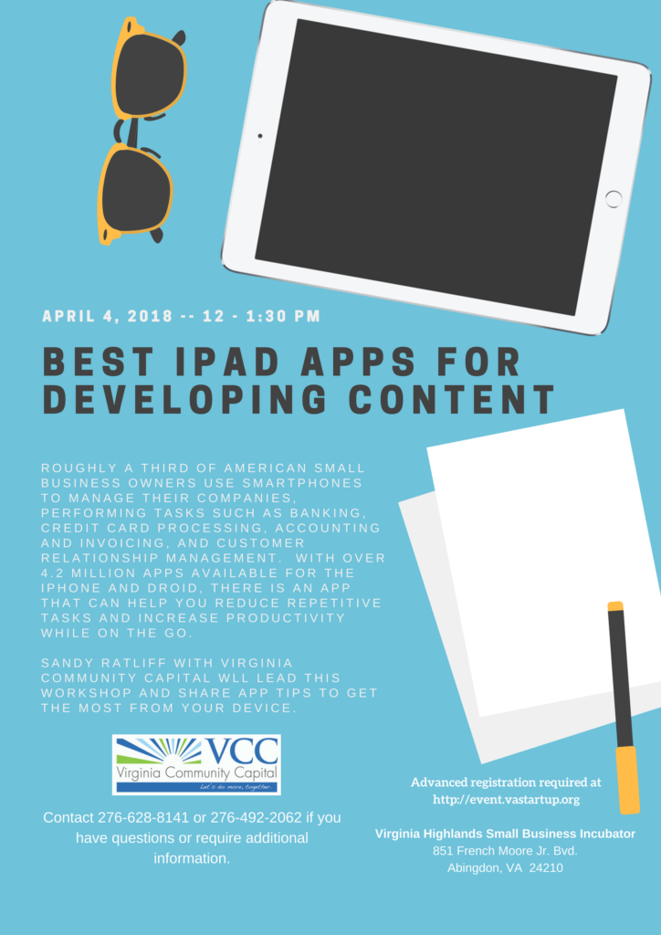 Best ipad apps for developing content noon knowledge va startup if you have questions want to register or require additional information please contact the virginia highlands small business incubator at 276 492 2062 or colourmoves