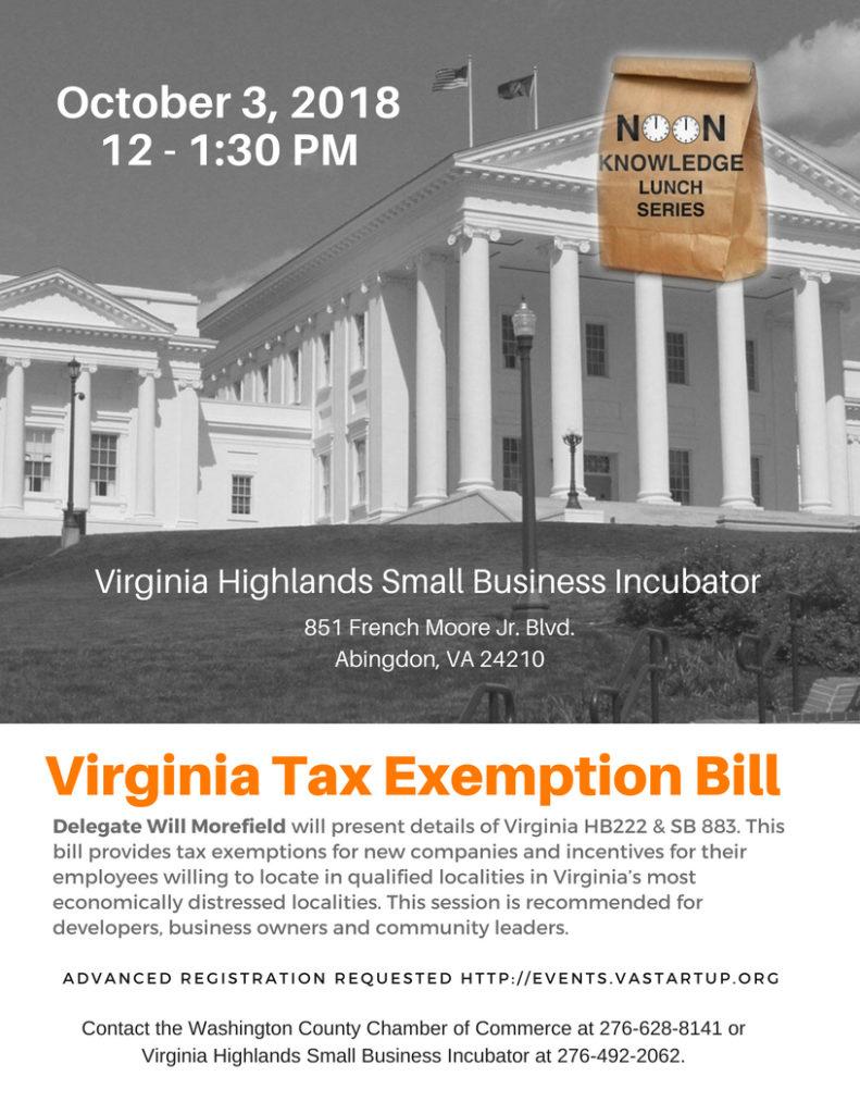 Virginia Tax Exemption Bill Noon Knowledge - VA Startup